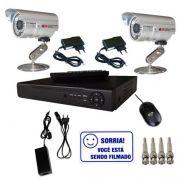 Kit Dvr Stand Alone 4 canais + 2 Câmeras Infravermelho + 2 fontes + 4 Conectores