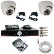 Kit sistema de segurança com 02 câmeras infravermelho dome e gravador dvr stand alone com acesso Internet