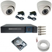 Kit Sistema de Segurança com 02 Câmeras Infravermelho Dome 1000 Linhas DVR Multi HD 4 canais + HD 500 Gigas