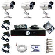 Kit 3 Câmeras Segurança Infravermelho até 30 metros com gravador dvr stand alone e acessórios