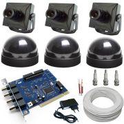 Kit Sistema de Monitoramento Completo para Computador 3 Micro Câmeras- Placa Geovision