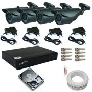 Kit 4 Câmeras Infravermelho Ircut HDIS 850 linhas Dvr Luxvision AHD Acesso Nuvem e Acessórios