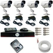 Kit 04 Câmeras Infravermelho até 30 Metros 1000 Linhas com Gravador Dvr Stand Alone e Acessórios