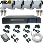 Kit 04 Câmeras Segurança 1.0 Megapixel Infravermelho 20 metros + DVR Stand Alone Multi HD