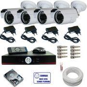 Kit 4 câmeras infravermelho 30 metros ccd digital 1000 linhas com gravador Dvr Stand Alone- Acesso via Internet