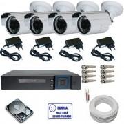 Kit 4 câmeras infravermelho 30 metros analógicas 1000 linhas - Dvr Stand Alone Multi HD