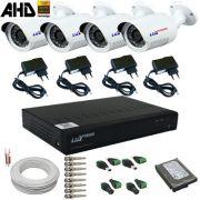 Kit 4 Câmeras Segurança AHD 1 Megapixel Dvr com gravação e acesso Internet - Alta Definição
