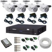 Kit Intelbras completo 04 Câmeras Gravador Dvr Stand Alone HD Acessórios