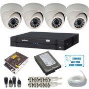 Kit 4 Câmeras Monitoramento Dome 1000 linhas Dvr Intelbras 1004 HD 500 gigas e Acessórios