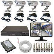Kit Sistema de Monitoramento Completo com 04 Câmeras Gravador Dvr Monitor e Acessórios