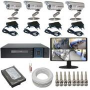Sistema de Monitoramento com 04 Câmeras infravermelho DVR Multi HD 5 em 1 + Monitor e Acessórios