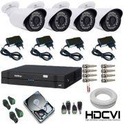 Kit 04 Câmeras HDCVI Alta Definição Dvr Intelbras Completo - Acesso Celular