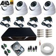 Kit 04 Câmeras de Segurança Dome Metal AHD-M 1.3 Megapixel Dvr Acesso Nuvem