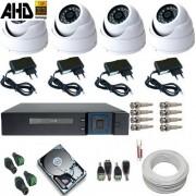 Kit 04 Câmeras de Segurança Dome Metal AHD-M 1.3 Megapixel Dvr Multi HD 5 em 1
