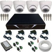 Kit 04 Câmeras Monitoramento Dome 1000 Linhas com Gravador Dvr Stand Alone e Acessórios