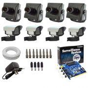 Kit 4 Câmeras de Segurança Completo Placa Geovision + Acessórios