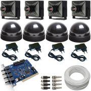 Kit 4 micro câmeras de vigilância completo para computador com acesso Internet- Placa Geovision