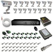 Kit 16 câmeras infravermelho 30 metros 1000 linhas com gravador Dvr Stand Alone- Acesso imagens pela Internet