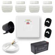 Kit Sistema de Alarme Residencial / Comercial com 4 Sensores de abertura sem fio – Completo- JFL