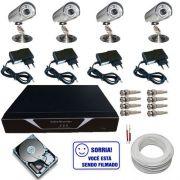 Kit Cftv 4 Câmeras de Monitoramento Infravermelho até 30 metros com Gravador Dvr Stand Alone
