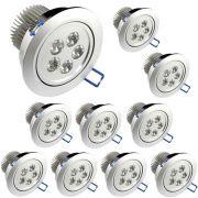 10 Lâmpadas Dicroica Led 5W Spot Direcionável Para Sanca Gesso em Alumínio