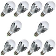 Kit 10 Lâmpadas Led 7W Branco Frio Bulbo E27 em alumínio 110/220V