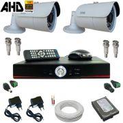 Kit Monitoramento 02 Câmeras Infravermelho 20 metros 1.0 Megapixel com Gravador - Sistema Alta Resolução