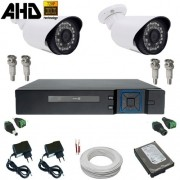Kit Monitoramento 02 Câmeras Infravermelho 1.3 Megapixel com DVR Multi HD 4 canais - Kit Alta Resolução