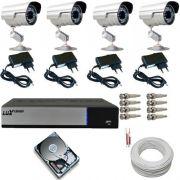 Kit 4 Câmeras Segurança Infravermelho Gravador dvr Luxvision HD 500gb e Acessórios