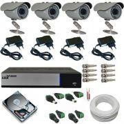 Kit 4 Câmeras de Monioramento Infravermelho 800 linhas Dvr Luxvision AHD Acesso Nuvem e Acessórios