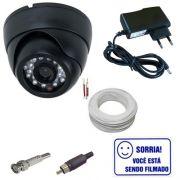 Kit Câmera Dome Infravermelho 1000 linhas + Cabo + Fonte + Conectores + Brinde