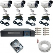 Kit Completo 4 Câmeras Infravermelho Gravador Dvr Stand Alone Multi HD + HD 250GB