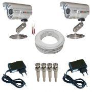 Kit 2 Câmeras Monitoramento Infravermelho 1000 linhas 36 leds + 2 Fontes + 4 Conectores + 30 Metros Cabo
