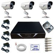 Kit Sistema de Monitoramento Completo 3 Câmeras Segurança Infravermelho HD 160 GB