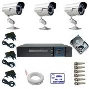 Sistema CFTV Completo com 3 Câmeras Segurança Infravermelho DVR Multi HD 4 canais + HD 160 GB