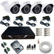Kit Sistema de Monitoramento Completo 04 Câmeras Infra 1400 linhas Acesso Celular