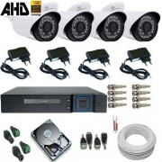 Kit 04 Câmeras de vigilância 1.3 Megapixels Infravermelho Gravador Dvr Multi HD 5 em 1