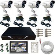 Kit 4 Câmeras de Segurança Infravermelho Gravador Dvr Acesso Internet Monitor 7