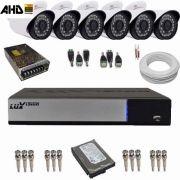 Kit Vigilância 06 Câmeras AHD 1.3 Megapixel Gravador DVR Luxvision 8 Canais AHD-M Acesso Internet e Celular