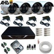 Kit 04 Câmeras Segurança AHD-M 1.3 Megapixel Infravermelho Array Gravador Dvr HD 500G e Acessórios - Alta Definição