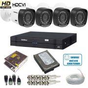 Kit 04 Câmeras VHD 1010B HDCVI Intelbras Gravador DVR 04 Canais 1004 HDCVI Intelbras HD 500GB Acesso via Internet