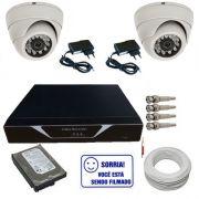 Kit Completo 02 Câmeras Dome 1000 linhas Dvr 04 Canais HD 160Gb Acessórios