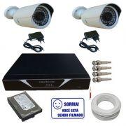 Kit 2 Câmeras Infravermelho 1.200 linhas Ircut Dvr 4 Canais HD 160gb e Acessórios