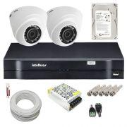 Kit Intelbras 02 Câmeras Dome Multi HD 1010D Dvr 4 Canais HD 500g e Acessórios