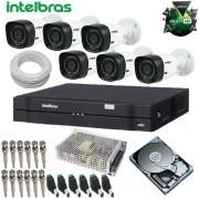 Kit Intelbras 06 Câmeras de Segurança Infra Multi HD 720p DVR Multi HD + HD 1TB