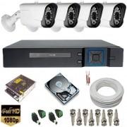 Kit cftv com 4 Câmeras Full HD 1080p resolução de imagem 2.0 MegapixeL Hibrida 4 em 1 + DVR Stand Alone