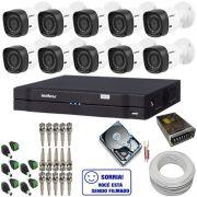 Kit de Monitoramento com 10 Câmeras intelbras 1010B Bullet 1.0 Megapixel + DVR intelbras 16 canais