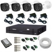 Kit Intelbras com 4 Câmeras Multi HD 1120B 1.0 Mp 720p de resolução + DVR Multi HD