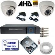 Sistema com 2 Câmeras Dome 24 Leds Infravermelho AHD 1.0 Mp DVR 4 Canais + HD 250 GB