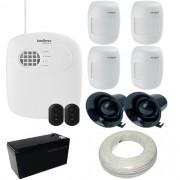 Kit Alarme Intelbras 1 Central AMT 2008 Discadora 4 Sensores de Presença IVP 2000 SF